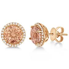gold earrings for morganite diamond halo stud earrings 14k gold 2 66ct