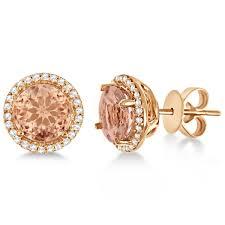 yellow gold earrings morganite diamond halo stud earrings 14k gold 2 66ct