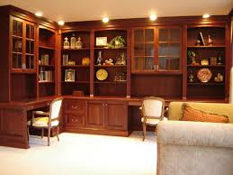 Home Office Design Gallery by Brown Stained Teak Wood Office Table Integrated With Display