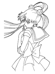 download sailormoon looking sad coloring page or print sailormoon