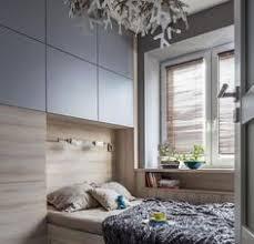 modern small bedroom ideas podium bed wardrobe neutral color gray
