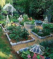 handsome veggie garden layout complete with above ground koi pond