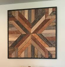 large rustic reclaimed wood geometric wood wall hanging