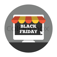 Awning Online Desktop With Awning Online Shoping On Black Friday Stock Vector