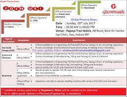 global pharma news glenmark pharmaceuticals walk in interview on