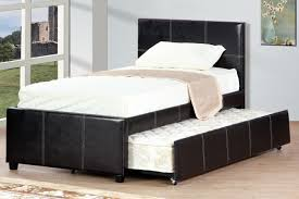 poundex f9214t espresso platform twin bed with trundle