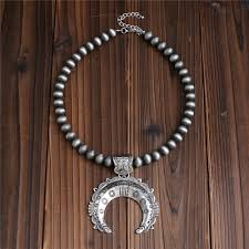 antique silver necklace pendant images 2018 new antique silver necklace bohemian style men women crescent jpg