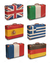 Suitcases Vintage Suitcases With European Flags On White U2014 Stock Photo