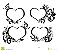 set of beautiful black and white symbol of a with floral