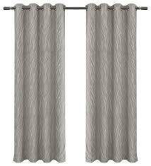 White Contemporary Curtains Forest Hill Woven Room Darkening Grommet Curtain Panels 54