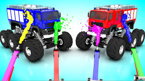 bigfoot presents meteor monster trucks painting monster fire trucks colors for children to learn with