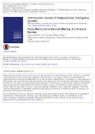 fuzzy multicriteria decision making a literature review