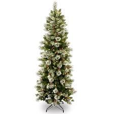 6ft pre lit wintry pine slim artificial tree beautiful