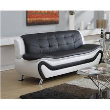 Leather White Sofa Frady Black And White Faux Leather Modern Living Room Sofa