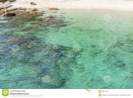 beach and transparent clear sea surface with waves reflection