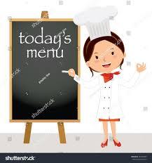 Beautiful Menu Beautiful Chef Woman Menu Board Female Stock Vector 285363485