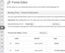 custom booking forms events manager for wordpress