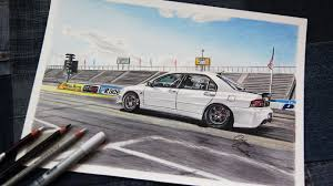 mitsubishi evo drawing mitsubishi evo 8 drag racer 2 realistic car drawing youtube