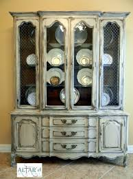 French Provincial China Cabinet Hutch Painted Distressed Houston - Shabby chic furniture houston