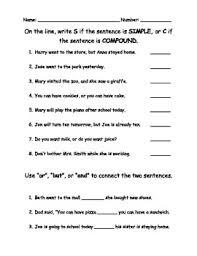 compound sentence worksheet worksheets