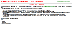 water purification chemist work experience certificate