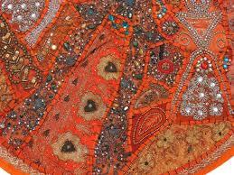 orange large round floor pillow cover ethnic seating beaded