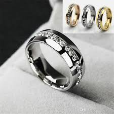 mens diamond engagement rings stainless steel gold silver rings for women men fashion