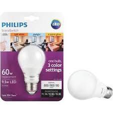 philips medium led 3 color settings 60w uses 9 5w light bulb color