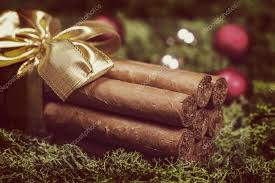 cuban cigars gift with ribbon and ornaments stock