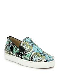 christian louboutin studded printed python skate sneakers in blue