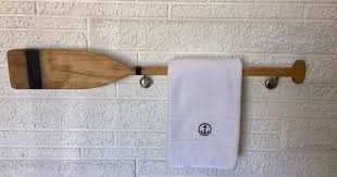 Oar Decor by Nautical Bathroom Décor Boat Oar Towel Bar Beach Dweller Boutique