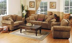 Printed Microfiber Living Room Set With Studded Accents - Microfiber living room sets