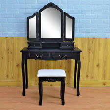 Wood Vanity Table Giantex Tri Folding Mirror Black Wood Vanity Set Makeup Table