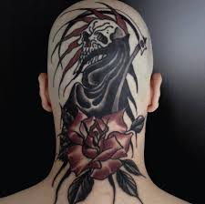 black ink grim reaper with rose tattoo on man back neck