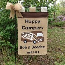 happy campers burlap garden flag camper garden flag summer