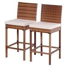 amazon com tangkula set of 2 patio rattan bar stool chair steel