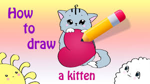 how to draw a cute kitten with a heart a valentine u0027s day card