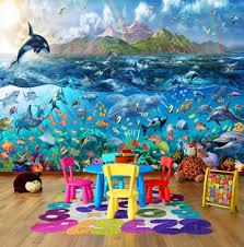 tropical sea life ocean fishes orca wallpaper wall mural