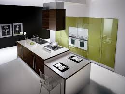 modern futuristic green white kitchen with island design with wall