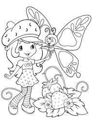 strawberry shortcake butterfly coloring free printable