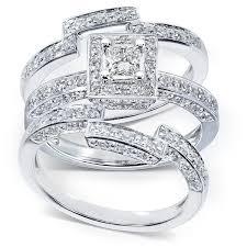 14k gold wedding ring sets annello 14k gold 4 5ct tdw 3 halo bridal ring set