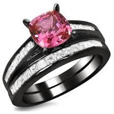 black and pink wedding ring sets black bridal jewelry sets shop the best wedding ring sets deals
