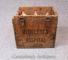Antike Esszimmerst Le Vintage Middlesex Krankenhaus Glasflasche Soda Stream Set Holzkiste