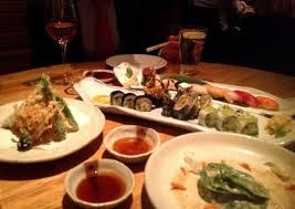 roka cuisine the tasting menu including tempura vegetables sushi and sashimi at