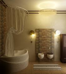 interior cozy small bathroom with rectangular soaking bathtub