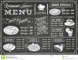 snack bar menu template grunge chalkboard restaurant menu template stock vector image