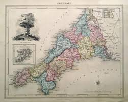 Old Map Of Suffolk County Antique Map Of Cornwall By Fisher 1832