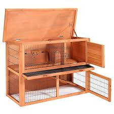 Rabbit Hutch Wood Smithbuilt 48 In Wooden Two Story Rabbit Hutch Guinea Pig Paradise