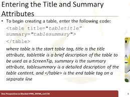 Html Table Title Introductory Tutorial 7 Creating Tables Xp New Perspectives On