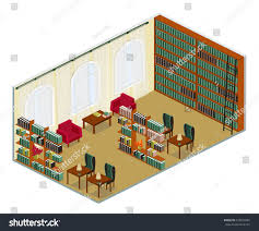 vector interior reading room tables bookcases stock vector